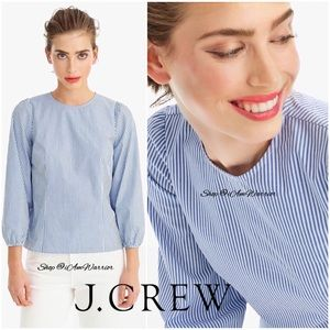 J. Crew striped puff sleeve poplin top